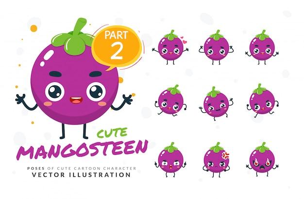 Ensemble de poses de dessin animé de mangoustan.
