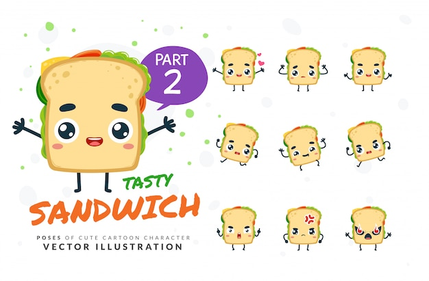 Ensemble de poses de dessin animé de sandwich.