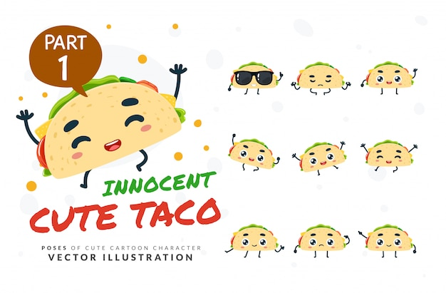 Ensemble de poses de dessin animé de taco.