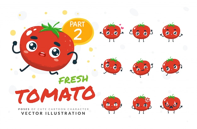 Ensemble de poses de dessin animé de tomate.