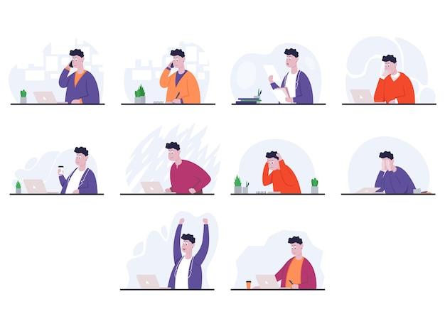 Ensemble de poses homme d'affaires avec différentes émotions et expressions