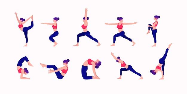 Ensemble de poses de yoga jeune femme pratiquant des poses de yoga