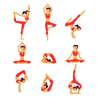 Ensemble de positions de yoga