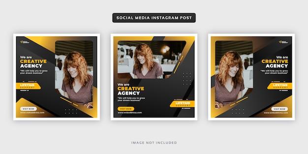 Ensemble de post instagram bannière de médias sociaux entreprise entreprise