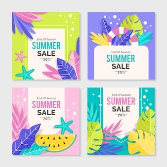 Ensemble de post instagram de soldes d'été de fin de saison
