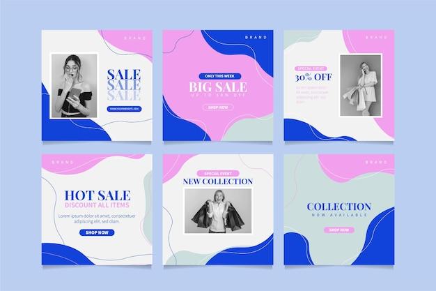 Ensemble de post instagram de vente design plat avec photo