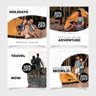 Ensemble de post instagram de vente de voyage
