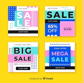 Ensemble de poste abstrait instagram coloré vente