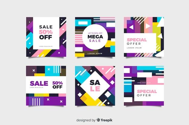 Ensemble de poste instagram coloré vente abstraite