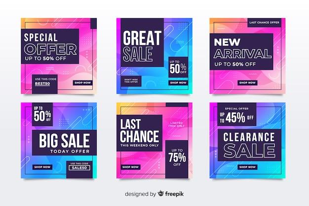 Ensemble de poste instagram coloré de vente abstraite