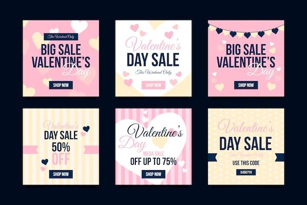 Ensemble de poste instagram de vente de la saint-valentin