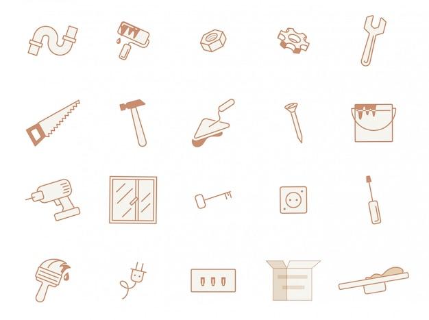 Ensemble de posters, matériaux de construction, plats.