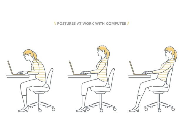 Ensemble de postures d'une femme travaillant à un ordinateur