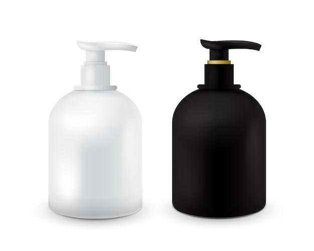 Ensemble de pot avec du savon liquide pour votre logo et le design est facile de changer les couleurs. conteneur cosmétiques noir et blanc réaliste pour la crème de savon, lotion. maquette de bouteille.