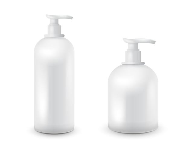 Ensemble de pot avec du savon liquide pour votre logo et le design est facile de changer les couleurs. récipient cosmétique blanc réaliste pour la crème de savon, lotion. maquette de bouteille.