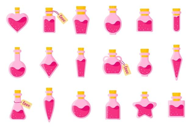 Ensemble de potion d'amour dans des bouteilles de différentes formes avec étiquette et coeur.
