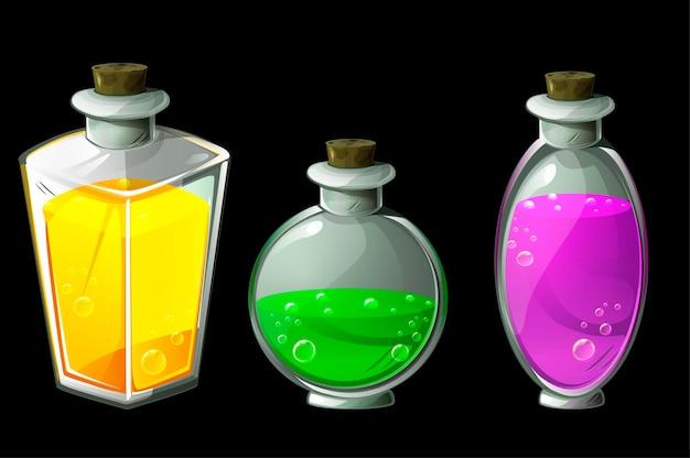 Ensemble de potions magiques isolées dans des bouteilles en verre