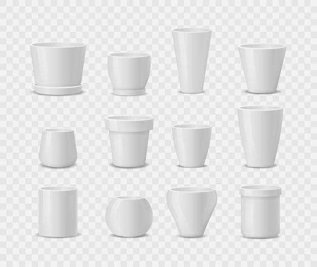 Ensemble de pots de fleurs en céramique blanche réaliste isolé sur fond blanc
