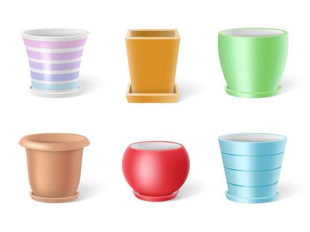 Ensemble de pots de fleurs en céramique colorés réalistes illustration isolé