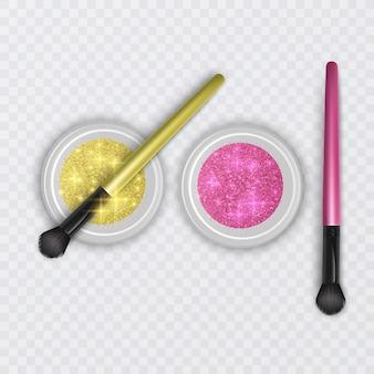 Ensemble de pots de paillettes de couleurs dorées et roses avec un pinceau réaliste pour le maquillage