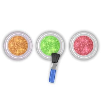 Ensemble de pots de paillettes de couleurs dorées, rouges et vertes avec une brosse réaliste
