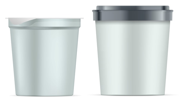 Ensemble de pots en papier rond. pot à yaourt blanc argenté mat
