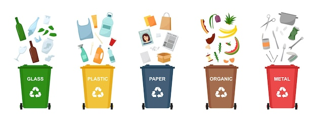 Ensemble de poubelles pour recycler différents types de déchets. tri et recyclage des déchets. illustration vectorielle