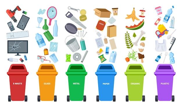 Ensemble de poubelles