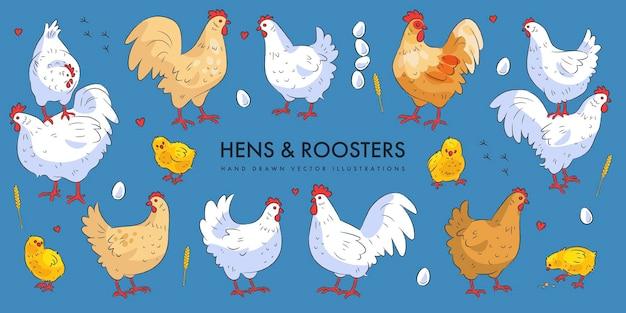 Ensemble de poules et coqs mignons isolé sur bleu