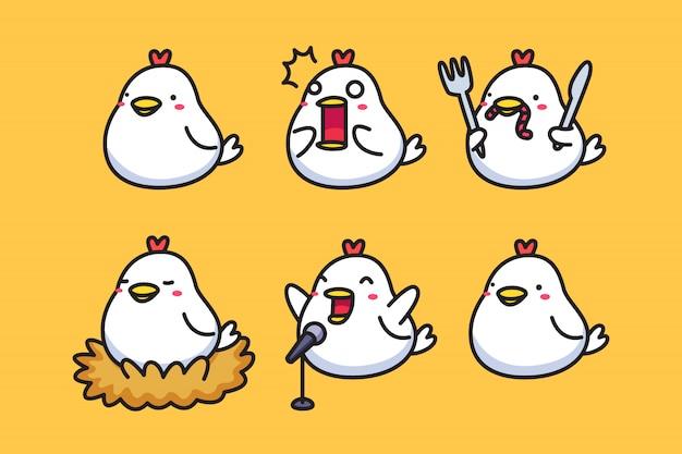 Ensemble de poulet dessin animé mignon