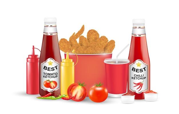 Ensemble de poulet frit tomate chilli suace bouteille
