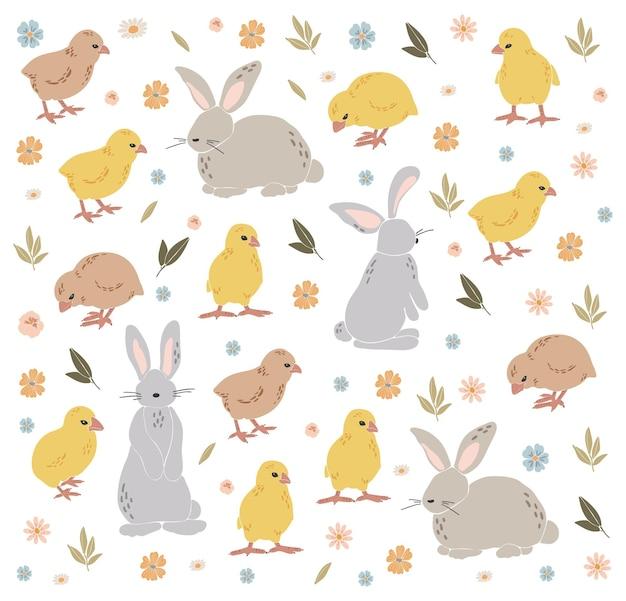 Ensemble de poulet et lapin de pâques abstrait boho