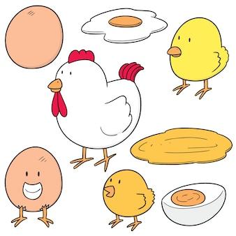 Ensemble de poulet et d'oeuf