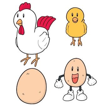 Ensemble de poulet et oeuf