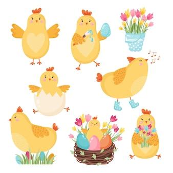 Ensemble de poulets de dessin animé mignon pour la conception de pâques. illustration vectorielle