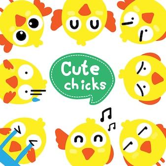 Ensemble de poulets de dessin animé mignon pour la conception de pâques
