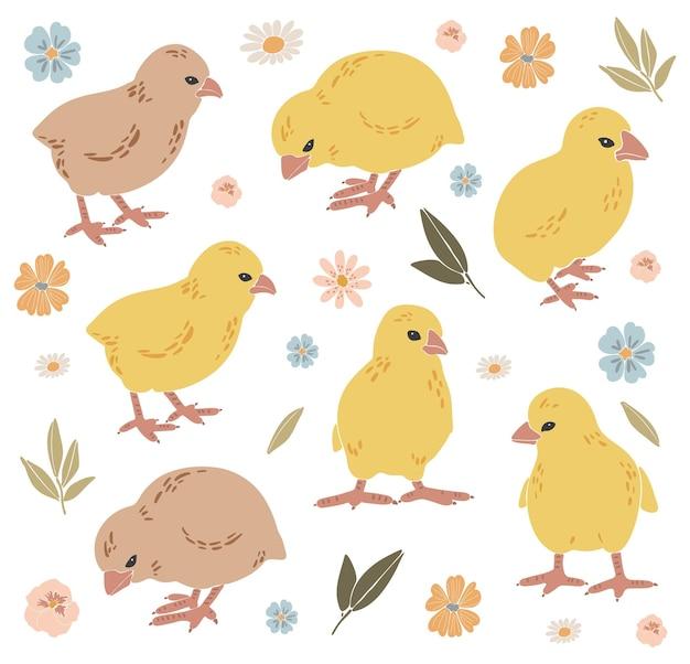 Ensemble de poulets de pâques abstraits boho