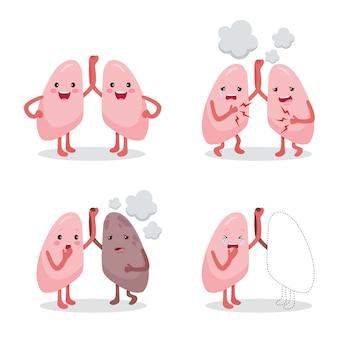 Ensemble de poumons sains et malades, personnage de dessin animé, organe interne humain