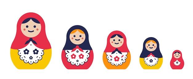 Ensemble de poupée gigogne traditionnelle. matriochkas simples et colorées de différentes tailles. illustration vectorielle plane.