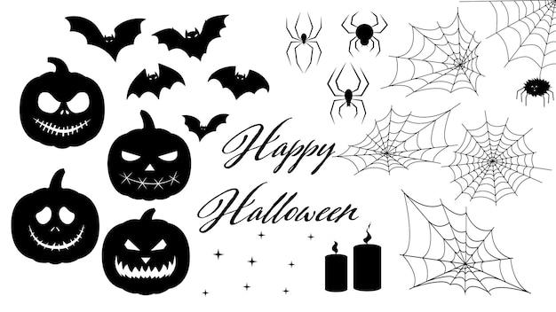 Ensemble pour halloween silhouette d'une araignée en toile d'araignée ensemble de citrouilles d'halloween d'autocollants pour halloween