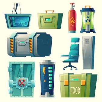 Ensemble pour laboratoire scientifique, intérieur de bunker secret avec des appareils de laboratoire, équipement.