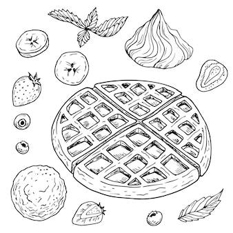 Un ensemble pour le petit déjeuner ou le dessert. gaufres garnies. baies, fruits, glaces et crème glacée. dessiné à la main