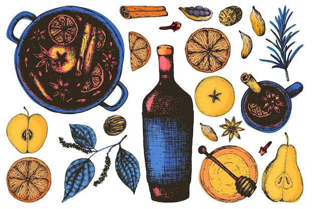 Ensemble pour le vin chaud dans le style de gravure en couleur. épices et assaisonnements pour vin chaud, fruits secs, une bouteille et une tasse, une casserole avec une boisson