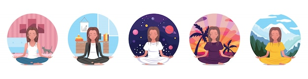 Ensemble pour le yoga à la maison, pratiquez le yoga en ligne dans la chambre, profitez de la méditation, des icônes avec une fille en lotus posent relaxantes avec son chat. cours en ligne. illustration colorée de dessin animé plat
