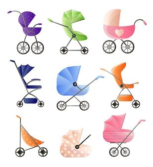 Ensemble de poussettes bébé modernes pour la conception web sur fond blanc