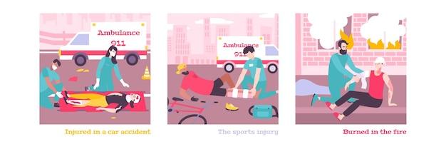 Ensemble de premiers soins avec des voitures d'ambulance et des médecins aidant l'illustration de personnes