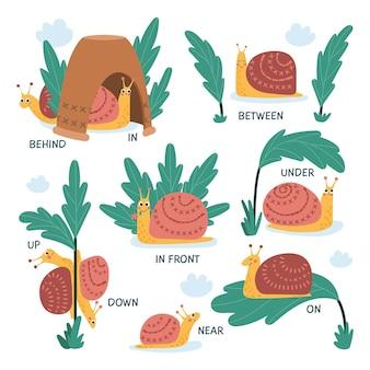 Ensemble de préposition anglais pour enfants avec escargot