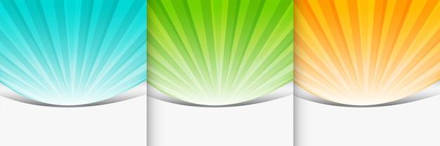 Ensemble de présentation d'arrière-plan sunbutst de trois couleurs