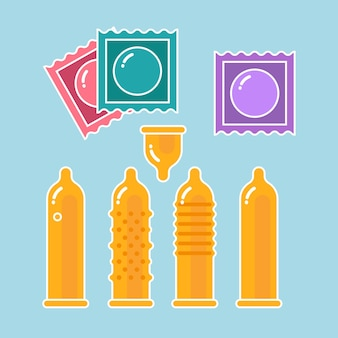 Ensemble de préservatifs et emballages - symboles de contraception