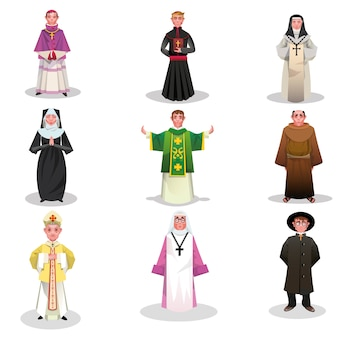 Ensemble de prêtres catholiques, moines et moniales illustration